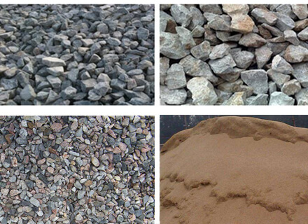 different particle sand gravel